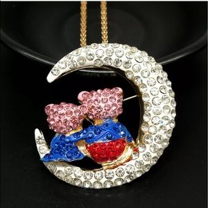 Jewelry - Crystal Lovely Bear Hugging Moon Necklace